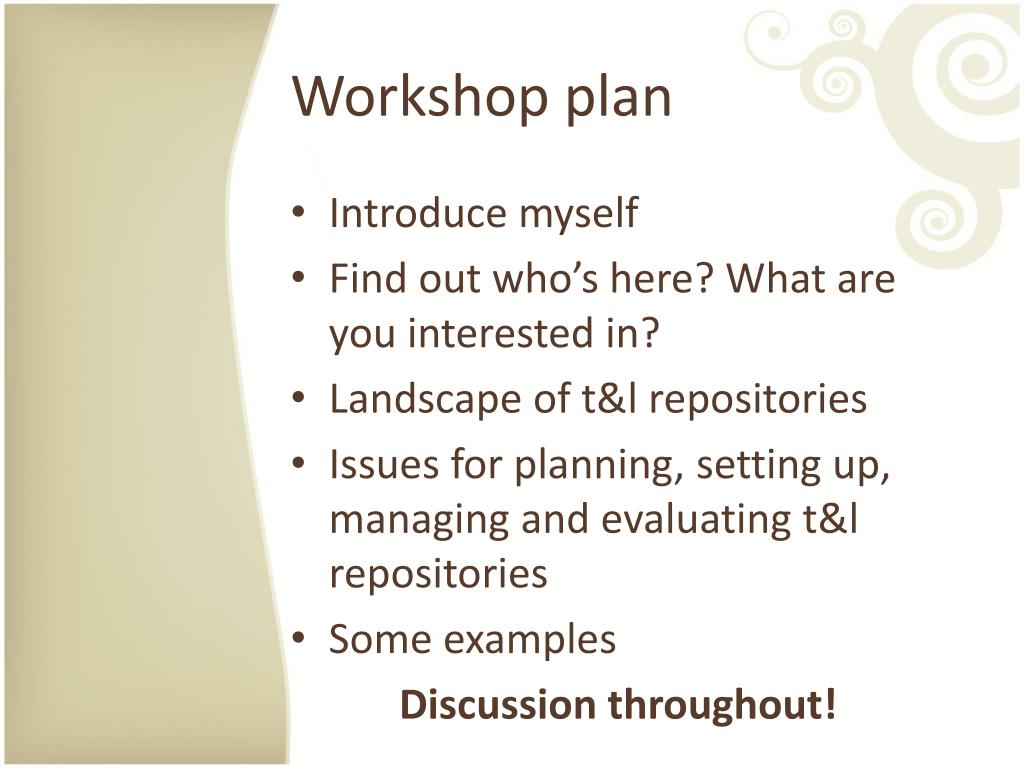 Workshop plan