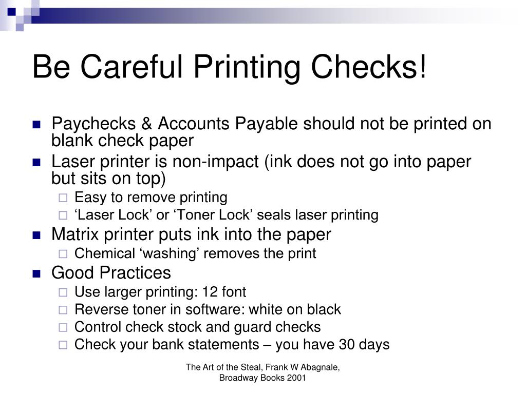 Be Careful Printing Checks!