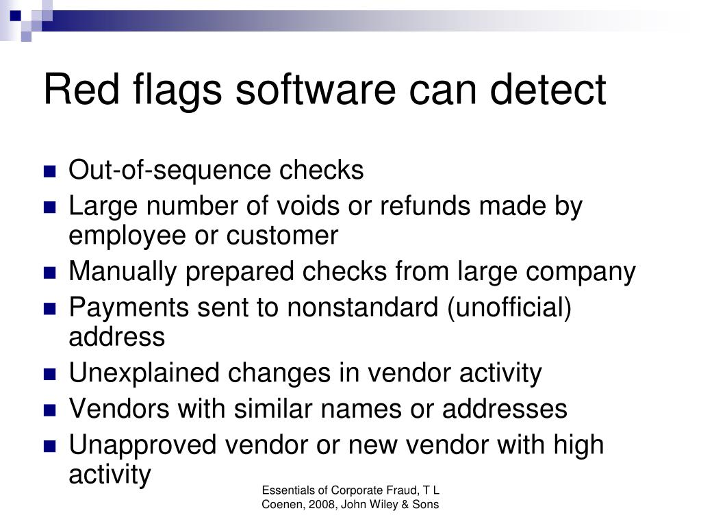 Red flags software can detect