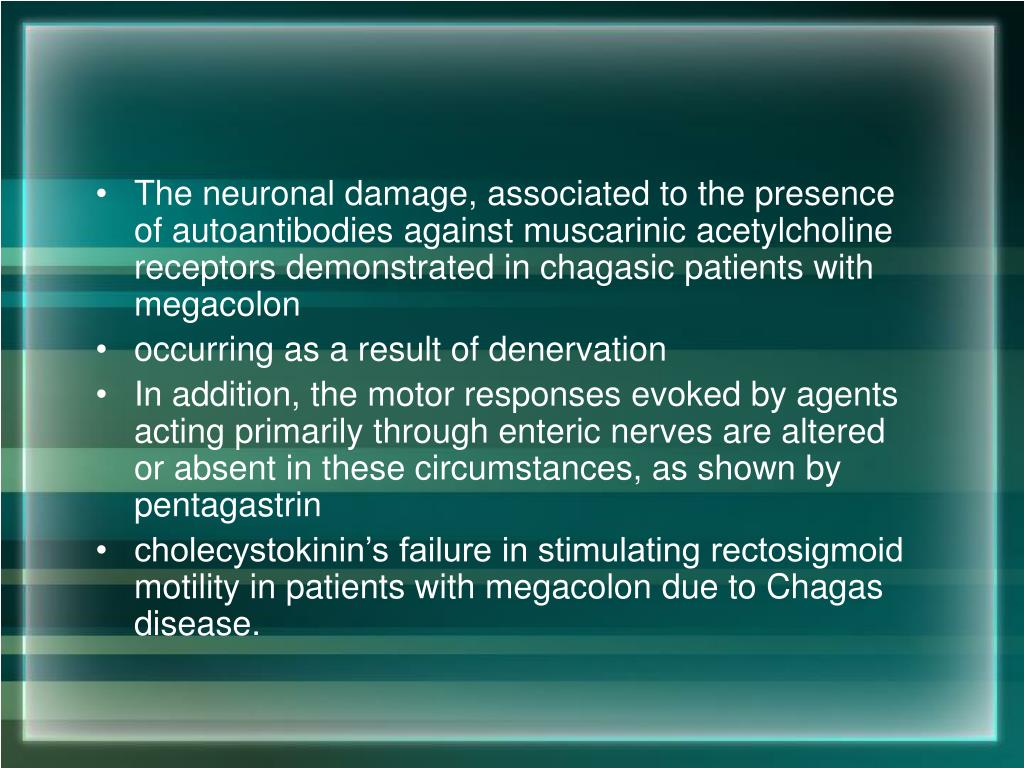 The neuronal damage, associated to the presence of autoantibodies against muscarinic acetylcholine receptors demonstrated in chagasic patients with megacolon