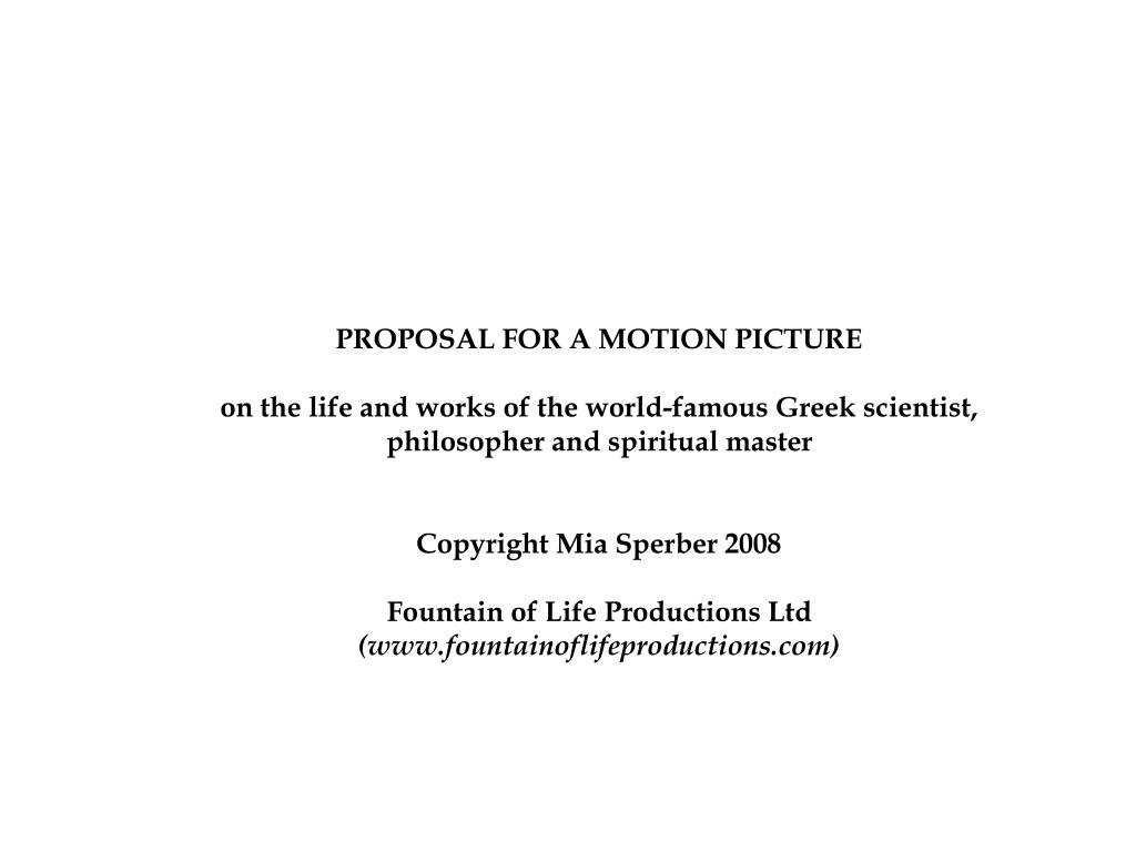 PROPOSAL FOR A MOTION PICTURE