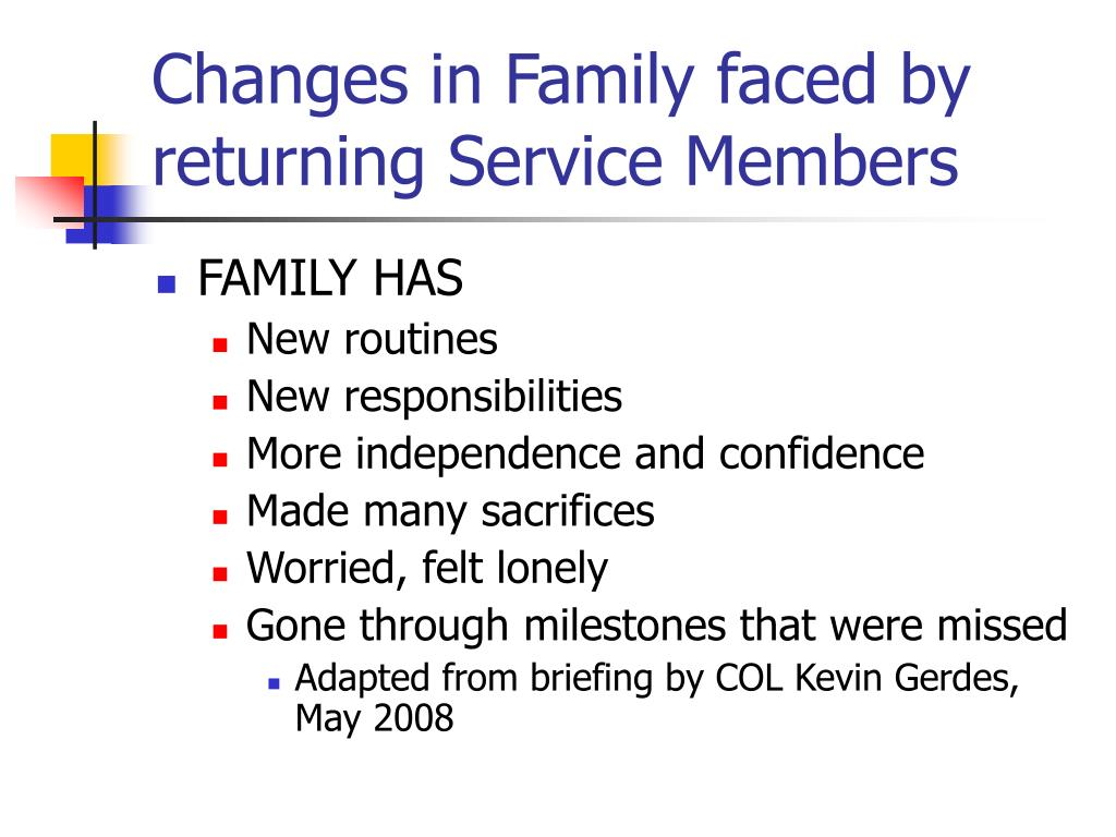 Changes in Family faced by returning Service Members