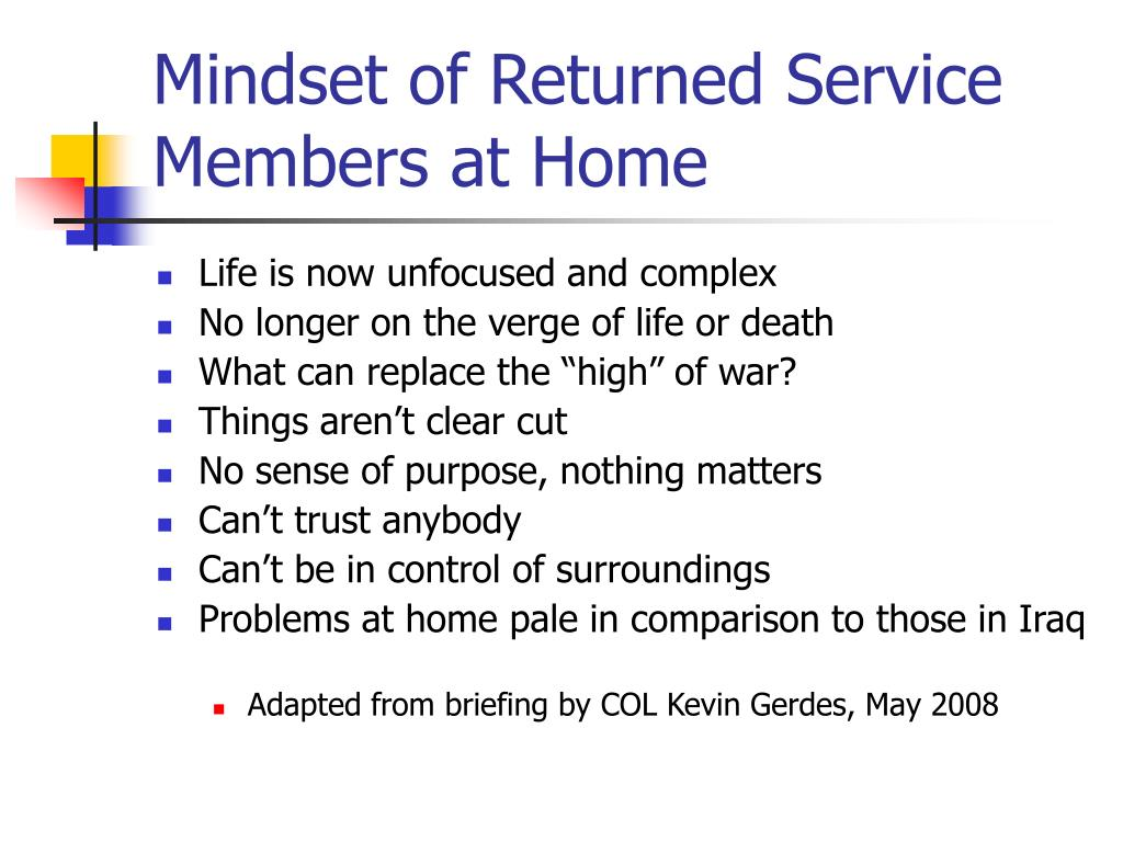 Mindset of Returned Service Members at Home