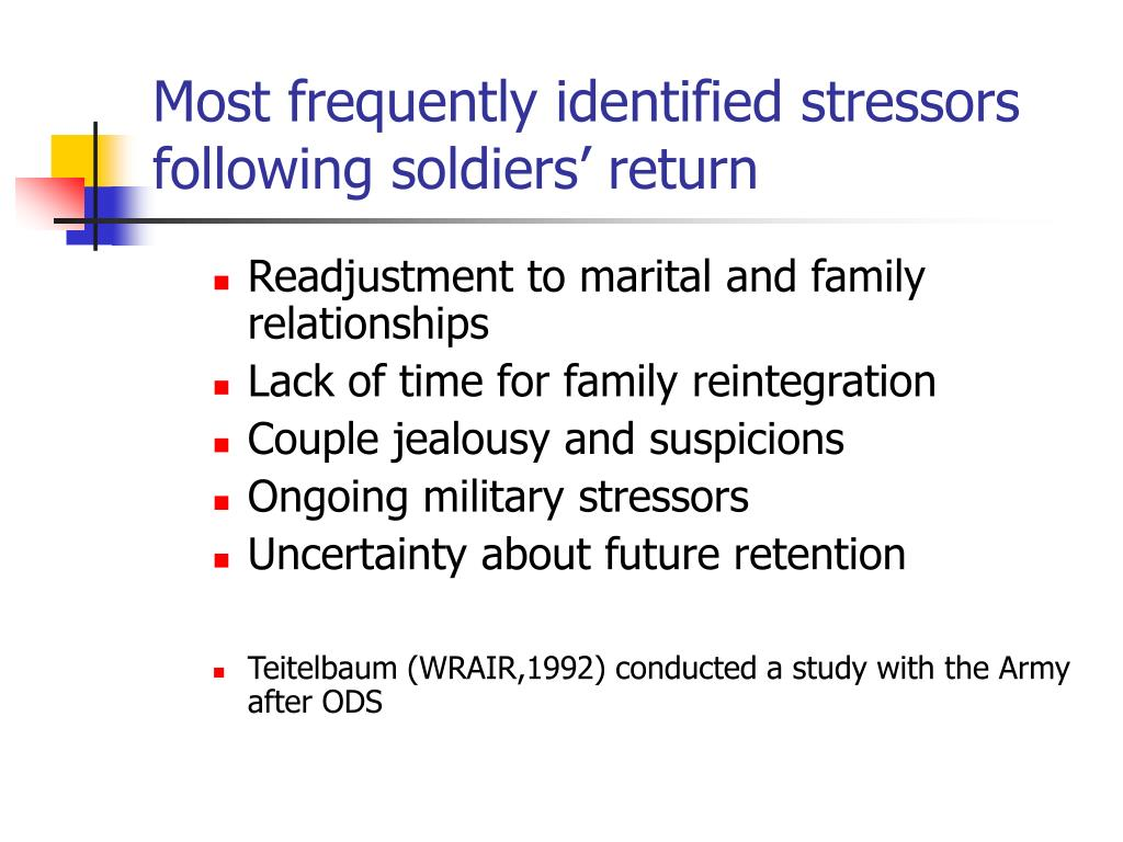 Most frequently identified stressors following soldiers' return