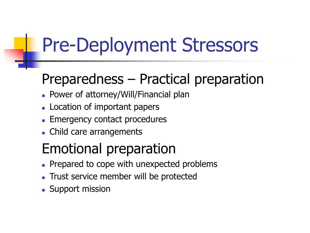 Pre-Deployment Stressors