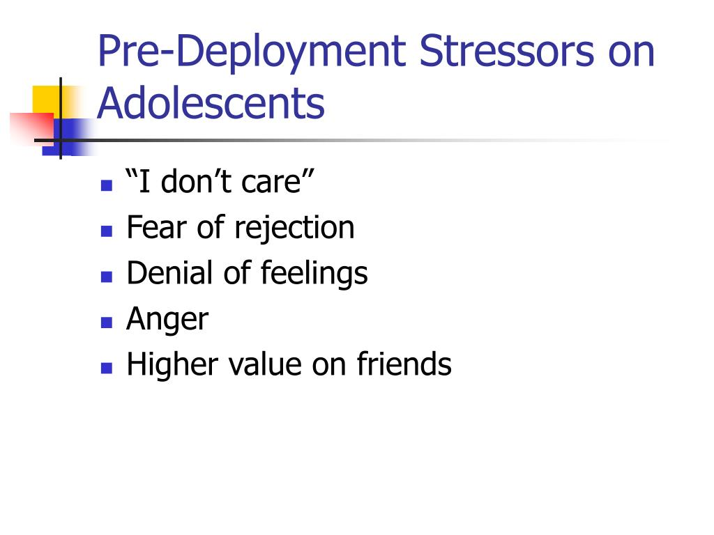 Pre-Deployment Stressors on Adolescents