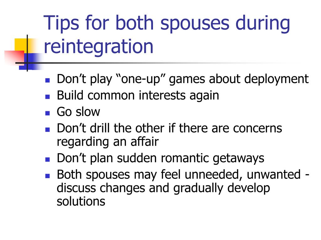 Tips for both spouses during reintegration