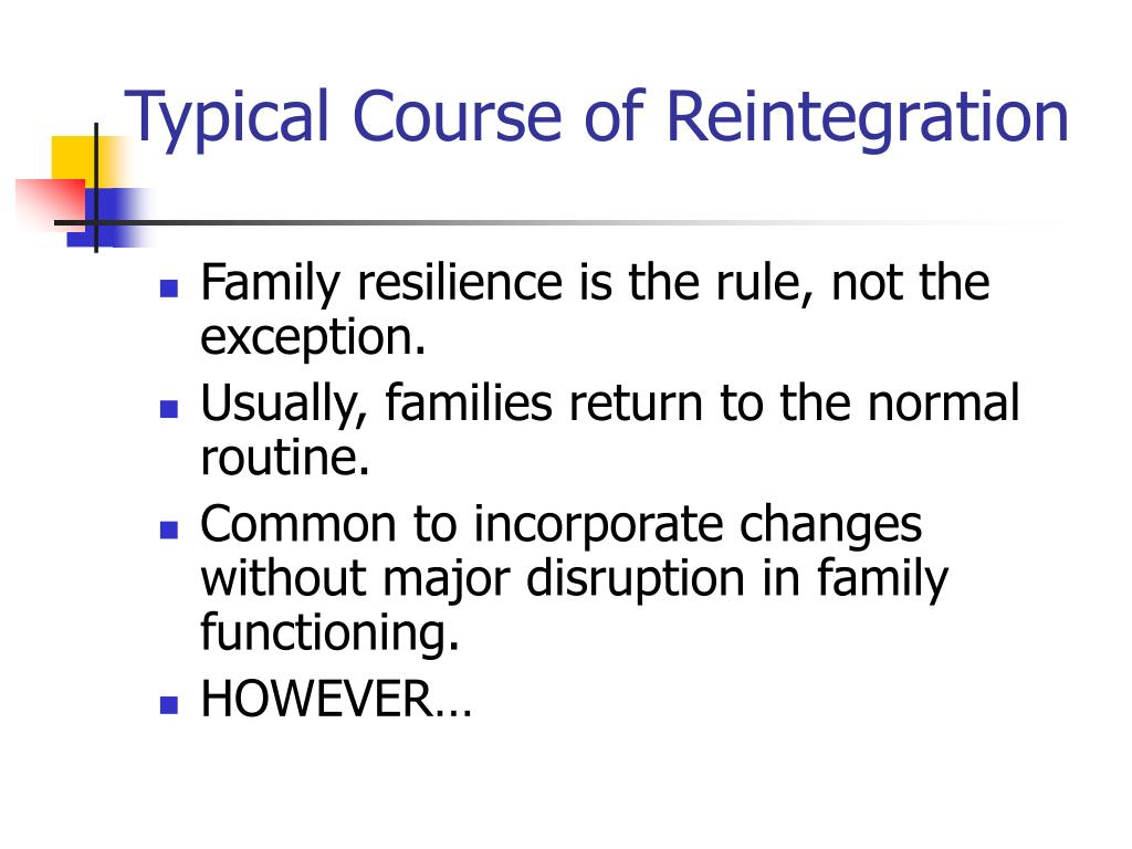 Typical Course of Reintegration