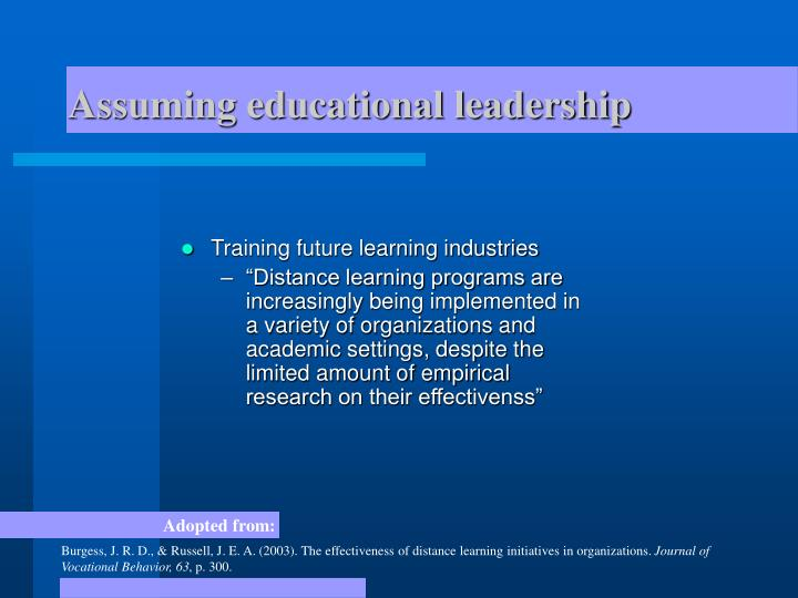 Assuming educational leadership