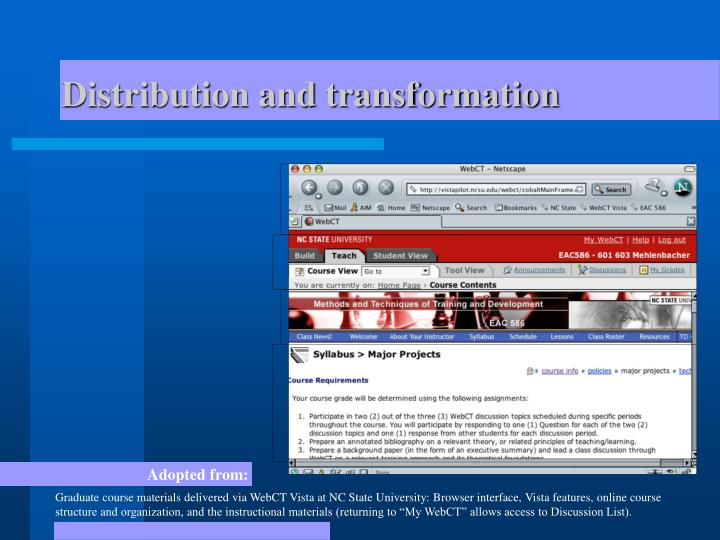 Distribution and transformation