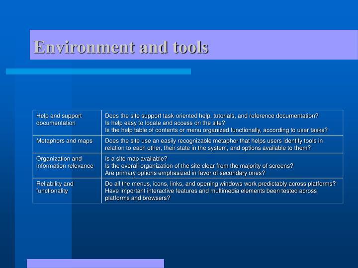 Environment and tools