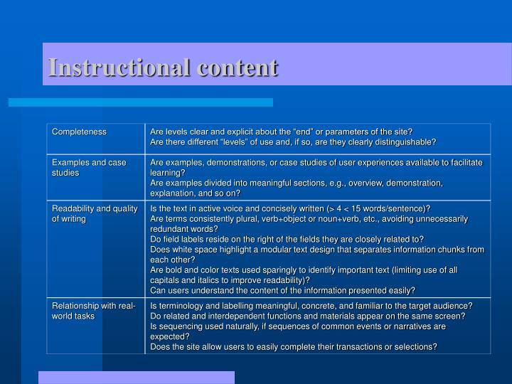 Instructional content