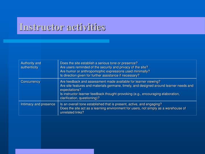 Instructor activities