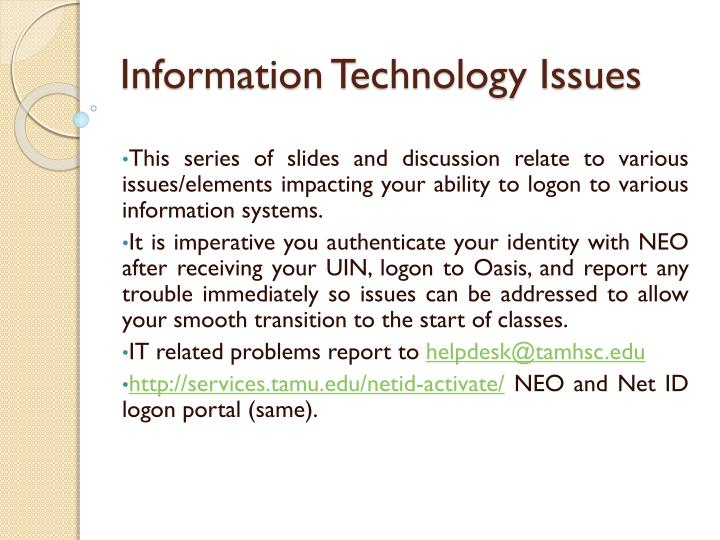 Information technology issues