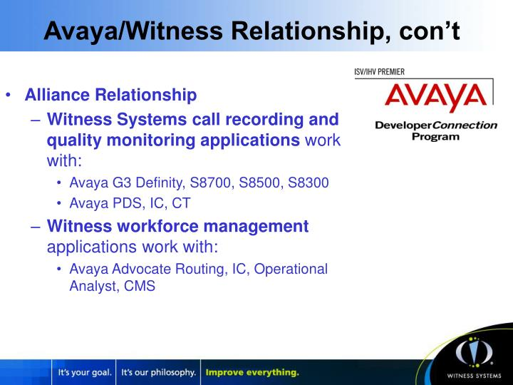 Avaya/Witness Relationship, con't