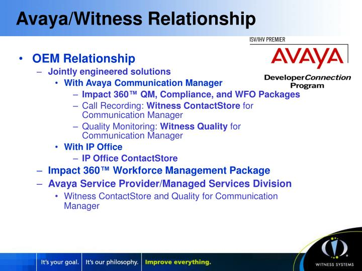 Avaya witness relationship