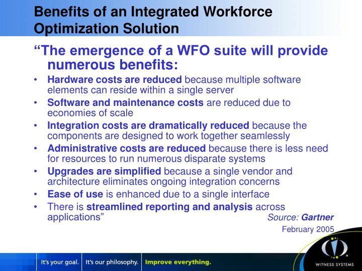 Benefits of an Integrated Workforce Optimization Solution