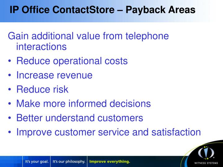 IP Office ContactStore – Payback Areas