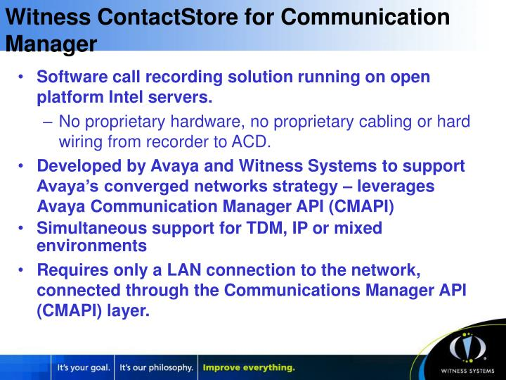 Witness ContactStore for Communication Manager