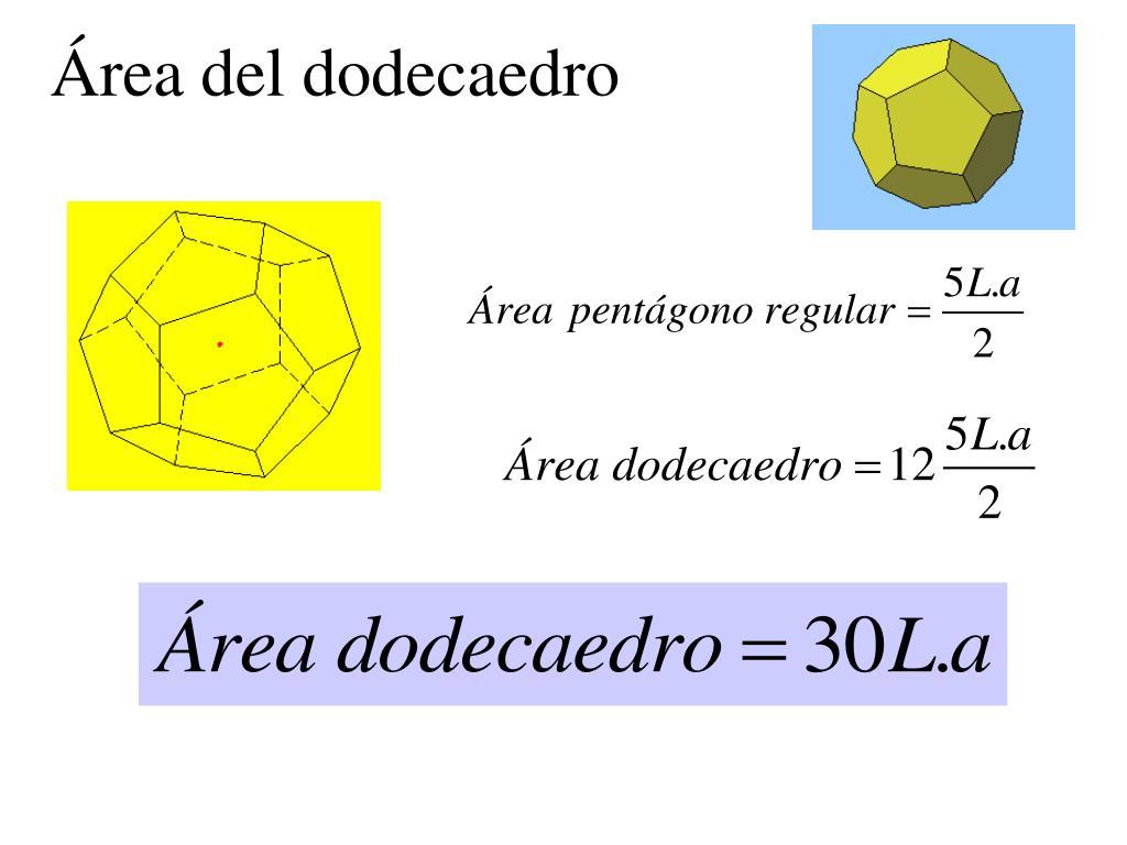 Área del dodecaedro