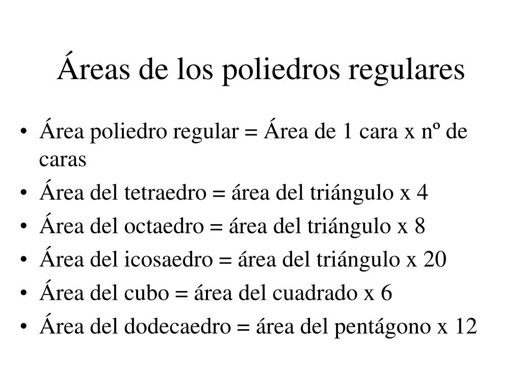 Áreas de los poliedros regulares