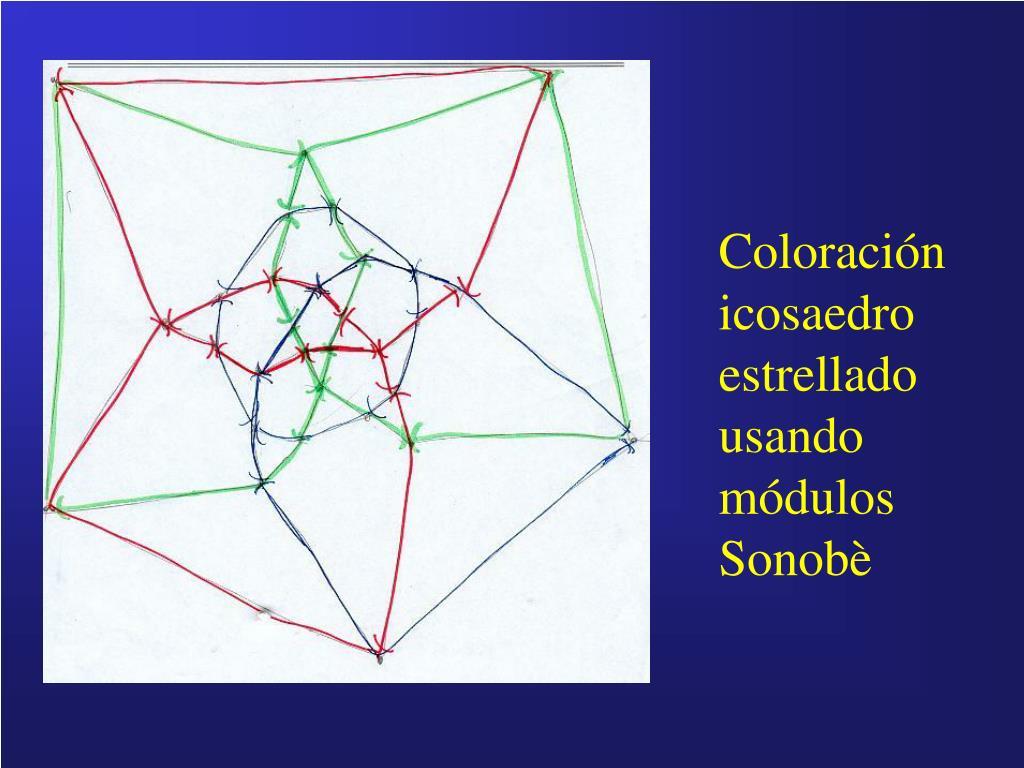 Coloración icosaedro estrellado usando módulos Sonobè