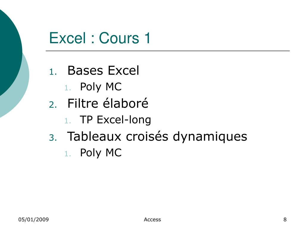 Excel : Cours 1