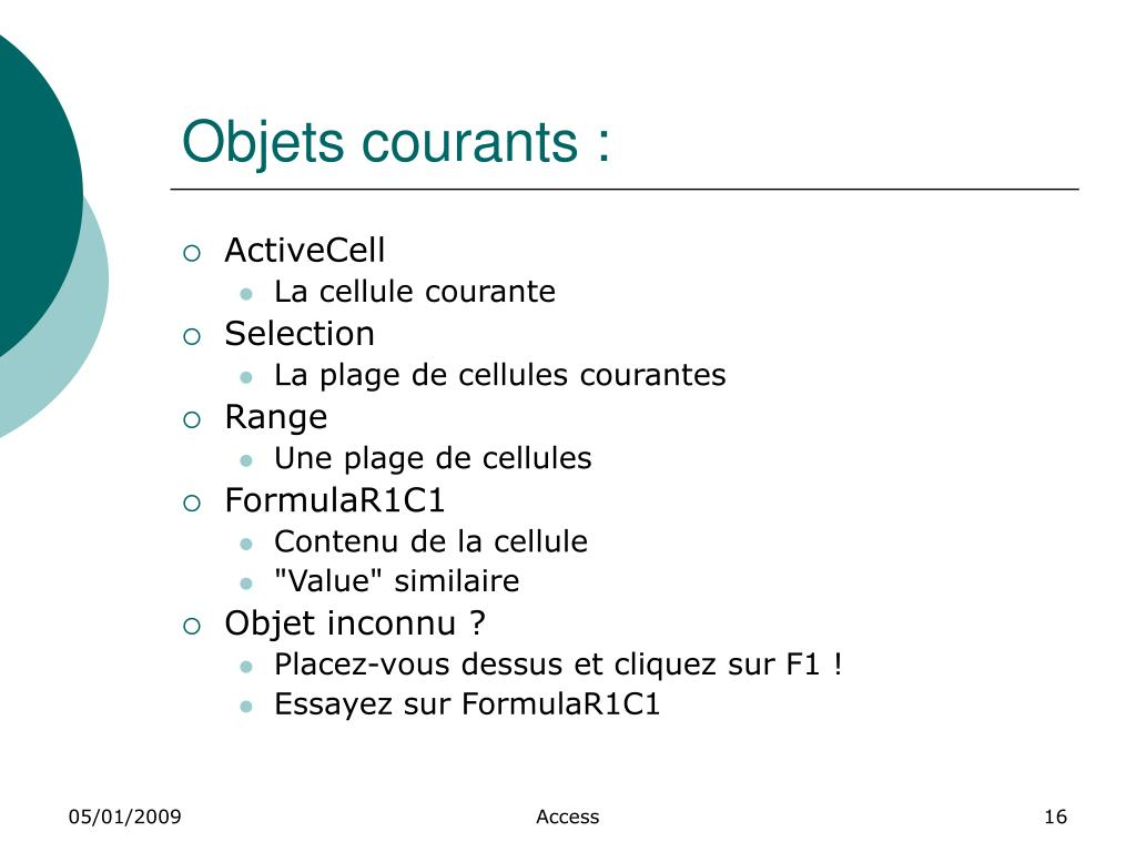 Objets courants :