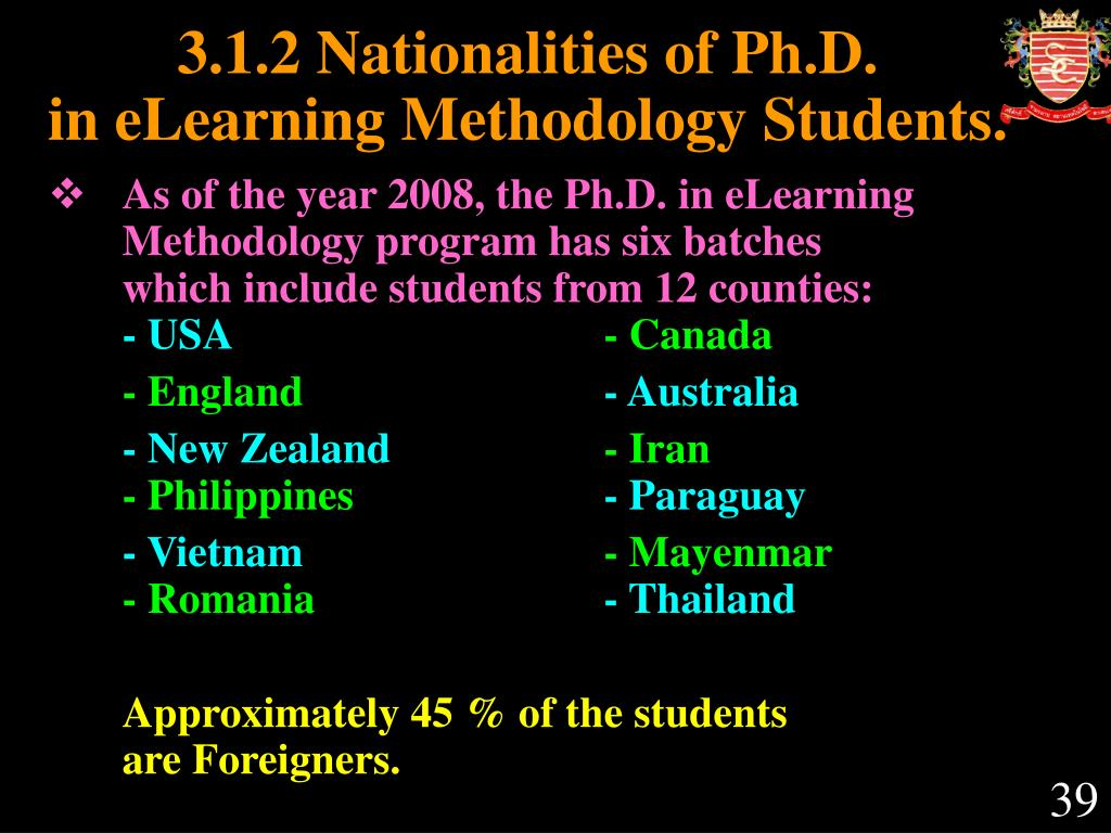 3.1.2 Nationalities of Ph.D.