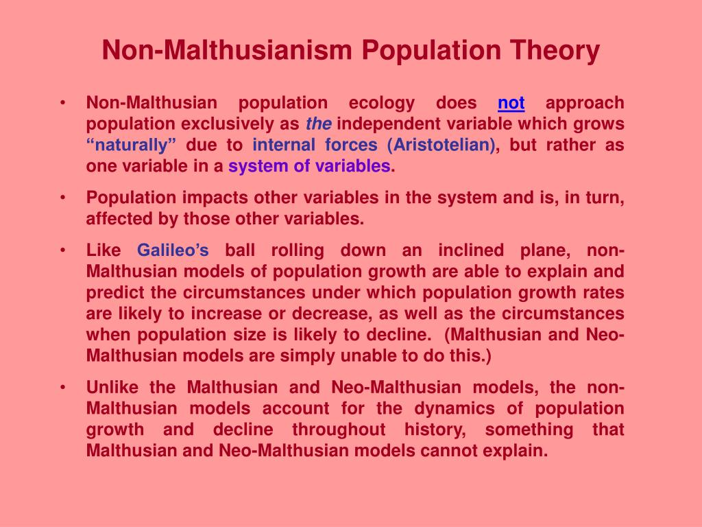 Non-Malthusianism Population Theory