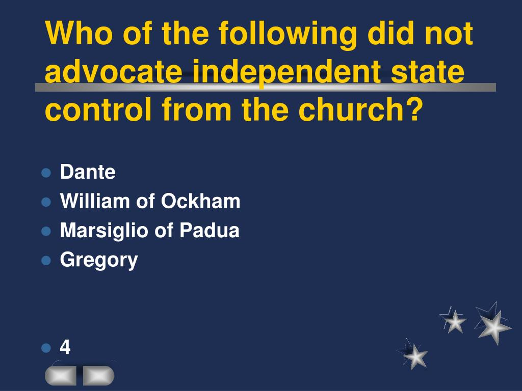 Who of the following did not advocate independent state control from the church?