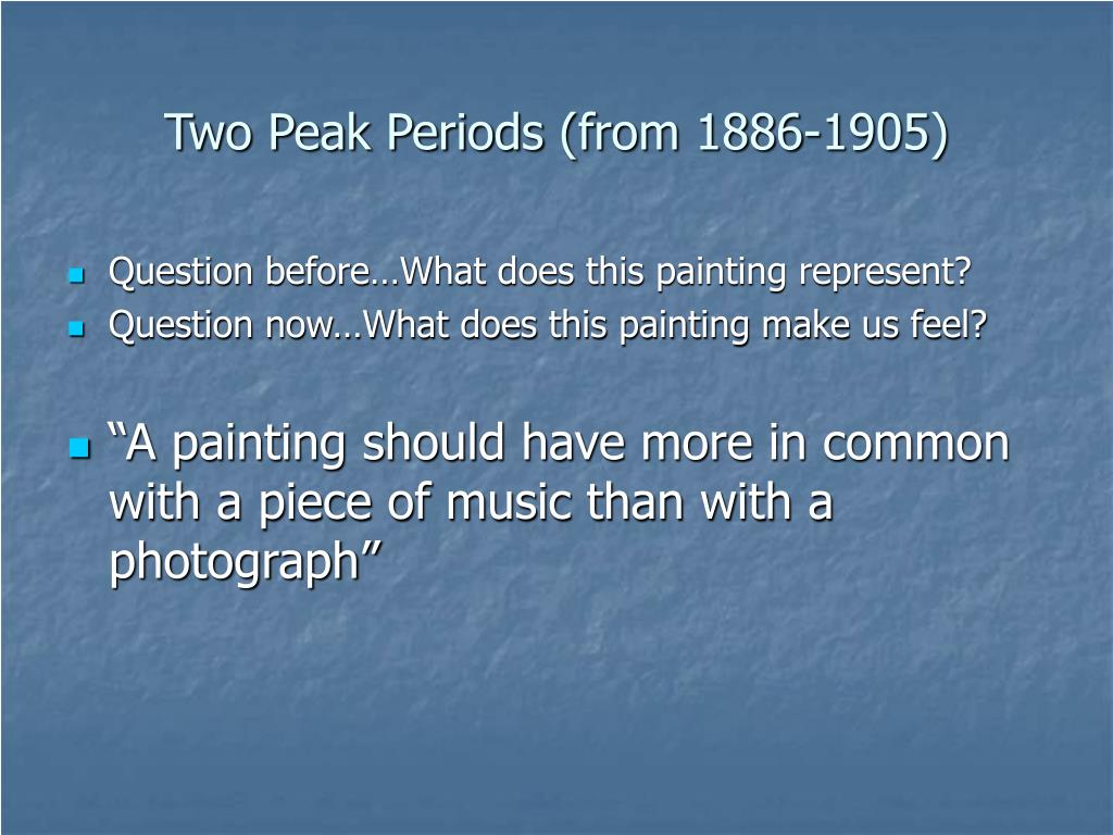 Two Peak Periods (from 1886-1905)