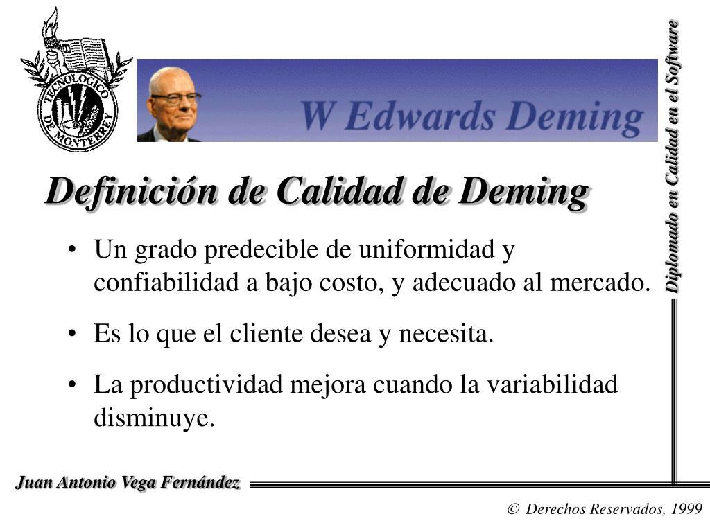 Definición de Calidad de Deming