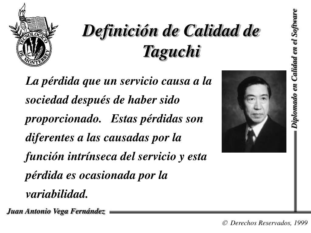 Definición de Calidad de Taguchi
