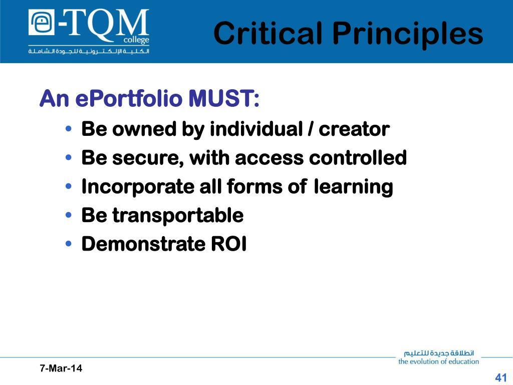Critical Principles