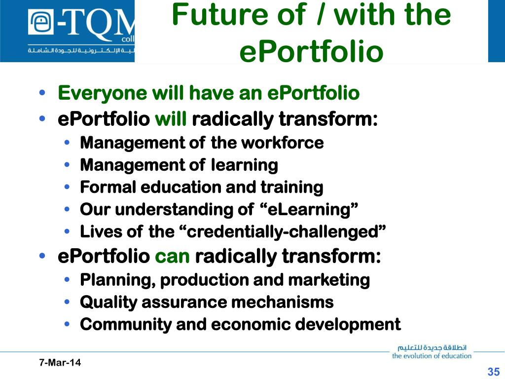 Future of / with the ePortfolio
