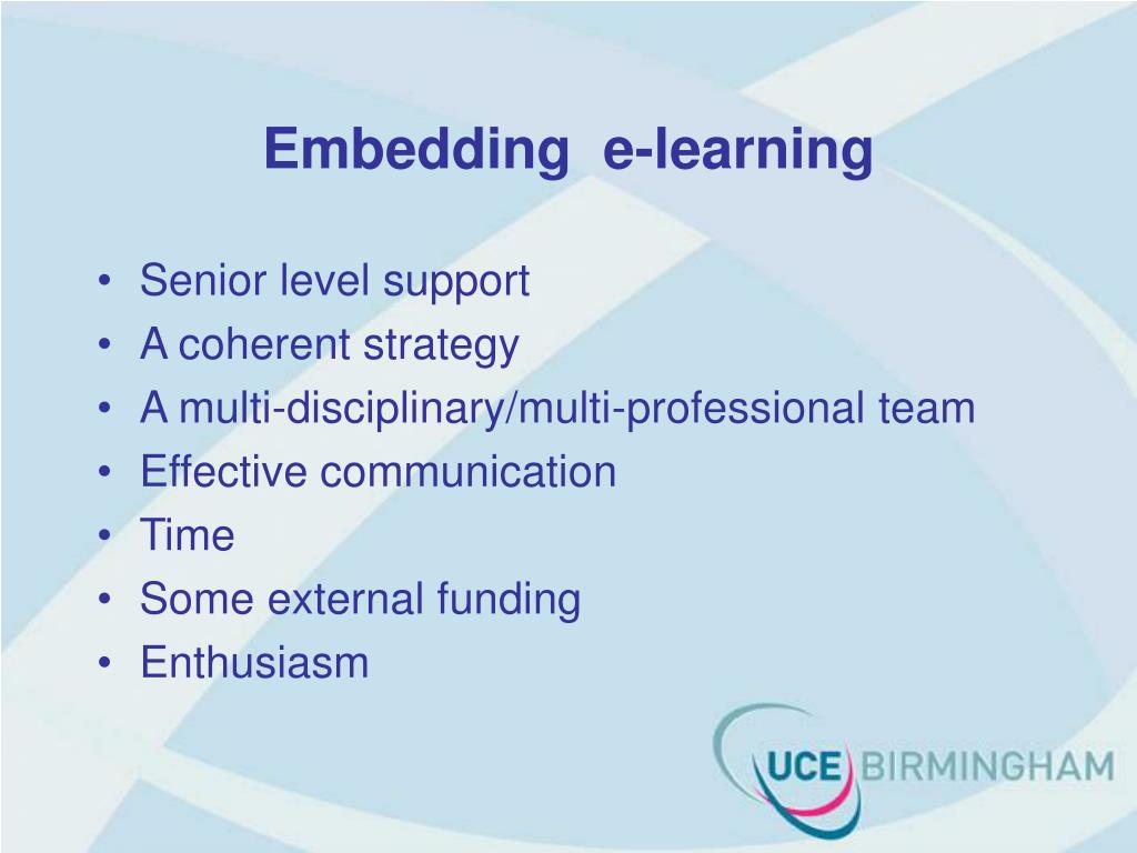 Embedding  e-learning