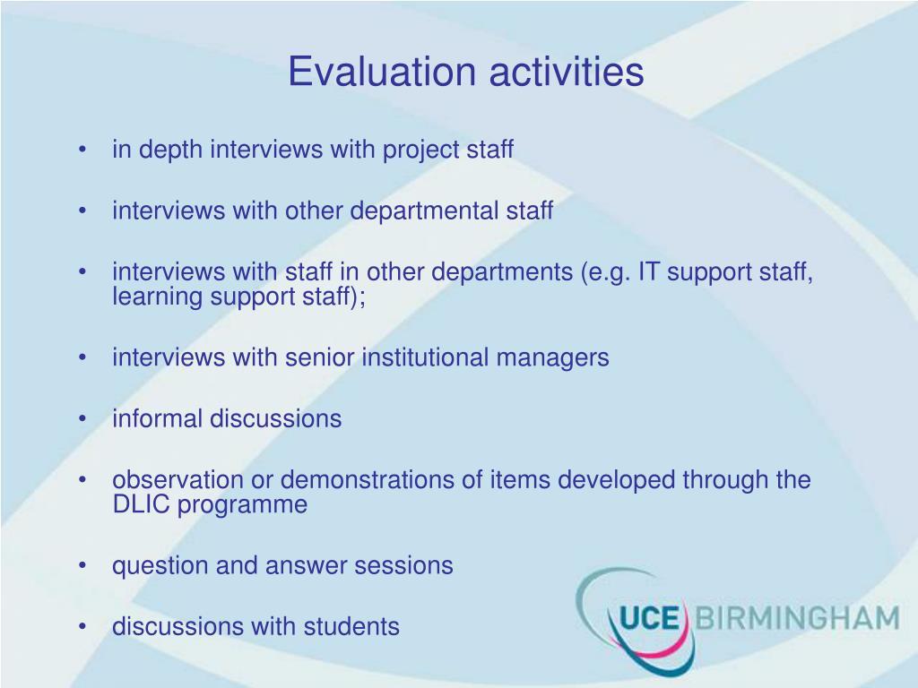 Evaluation activities