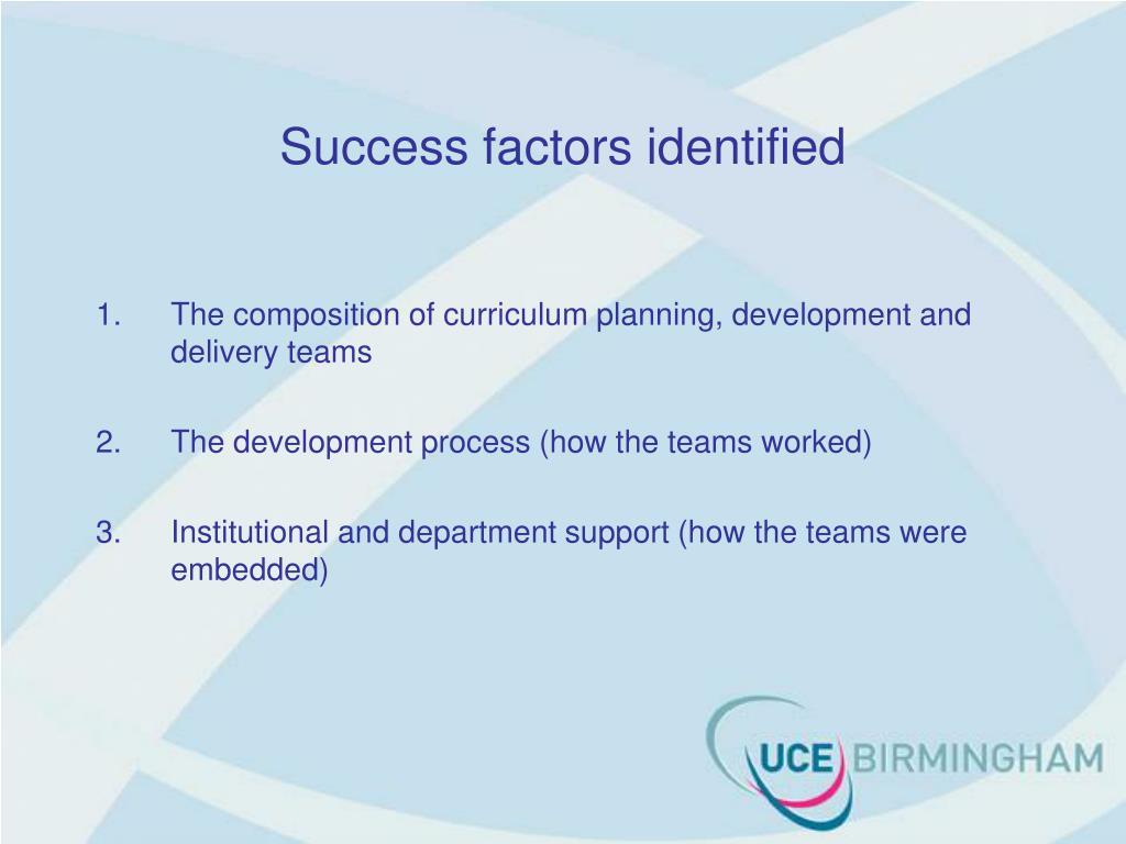Success factors identified