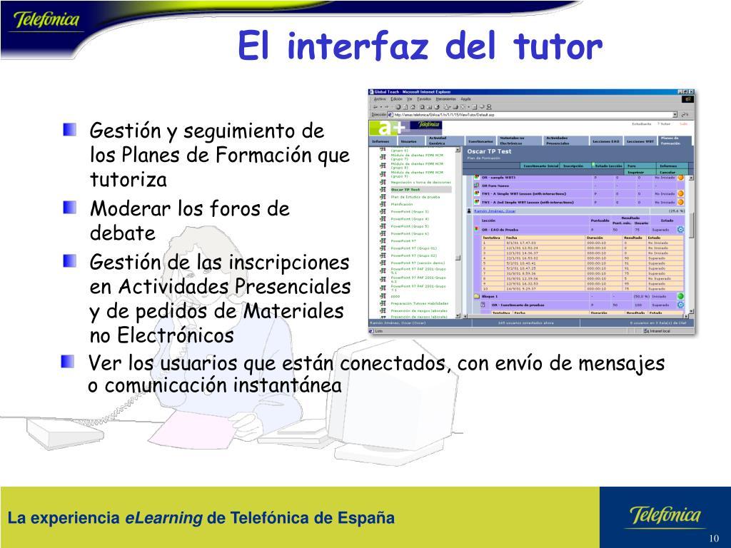 El interfaz del tutor