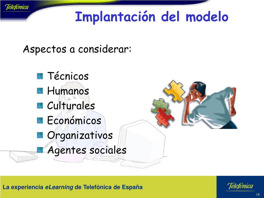 Implantación del modelo