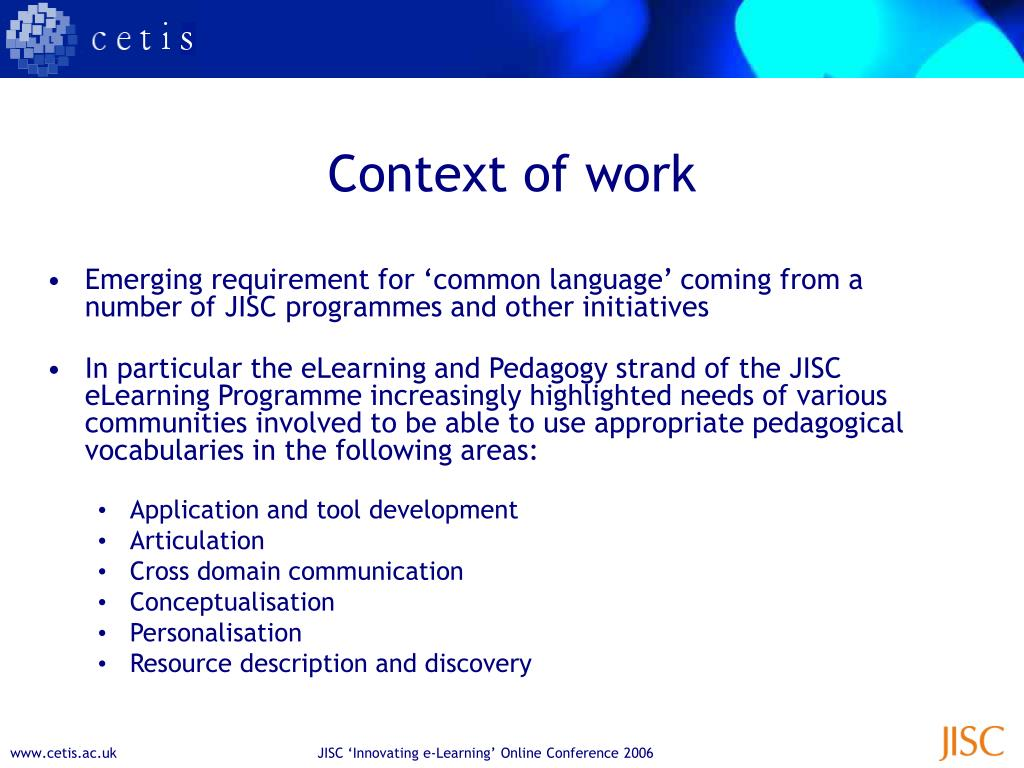 Context of work