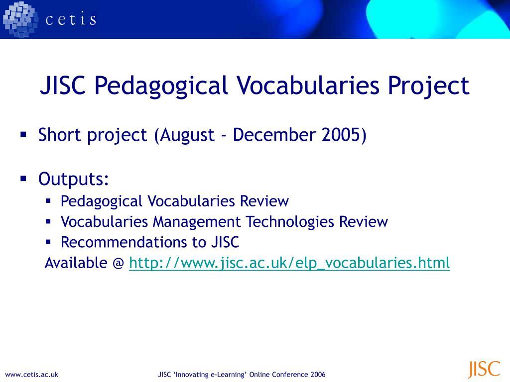 JISC Pedagogical Vocabularies Project