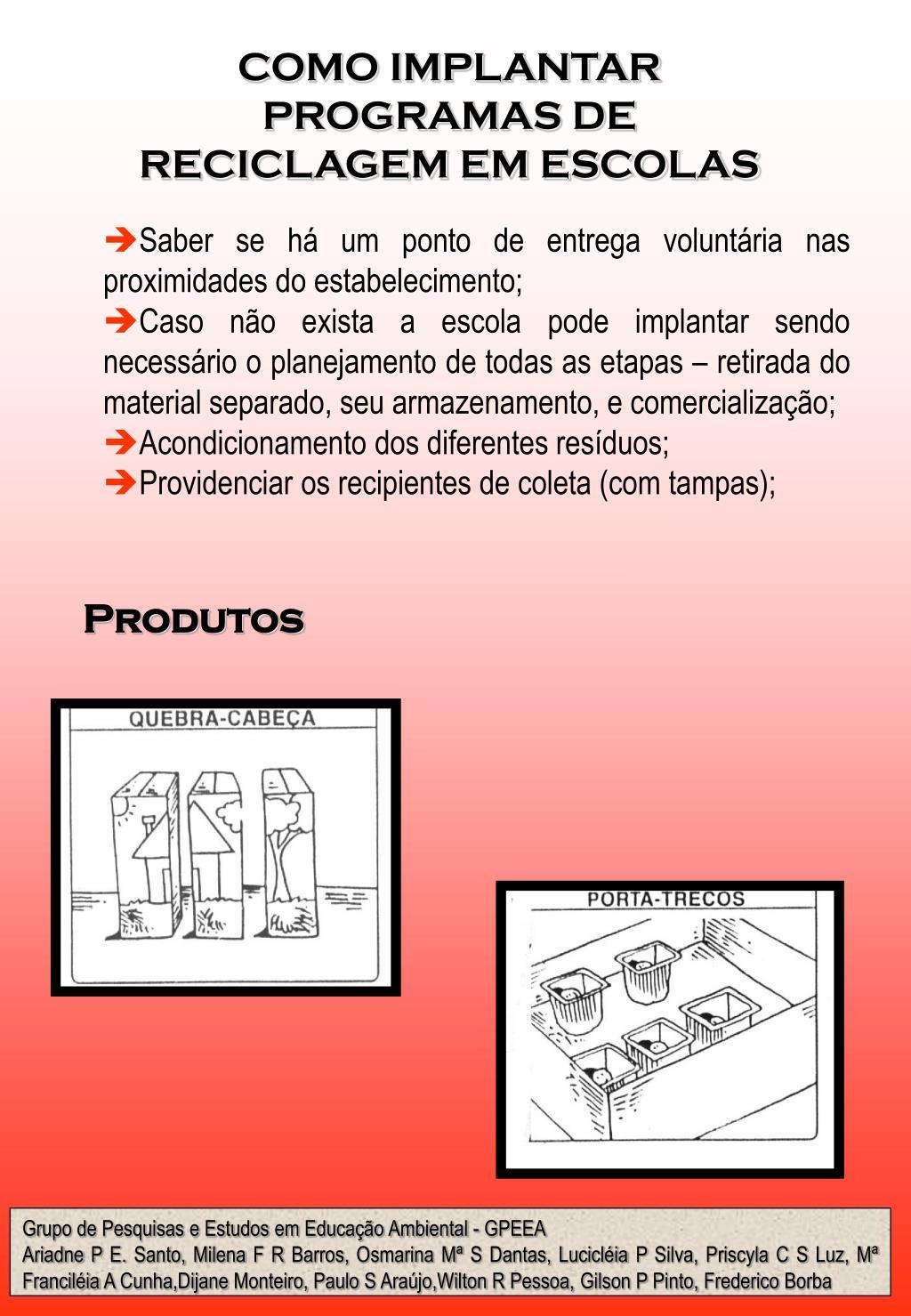 COMO IMPLANTAR PROGRAMAS DE RECICLAGEM EM ESCOLAS