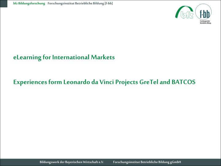 ELearning for International Markets