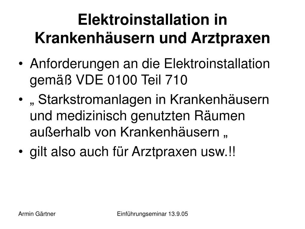 Elektroinstallation in Krankenhäusern und Arztpraxen