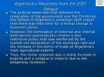 argentina s recovery from the 2001 default