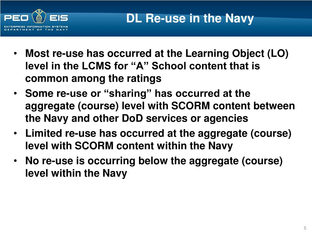 DL Re-use in the Navy