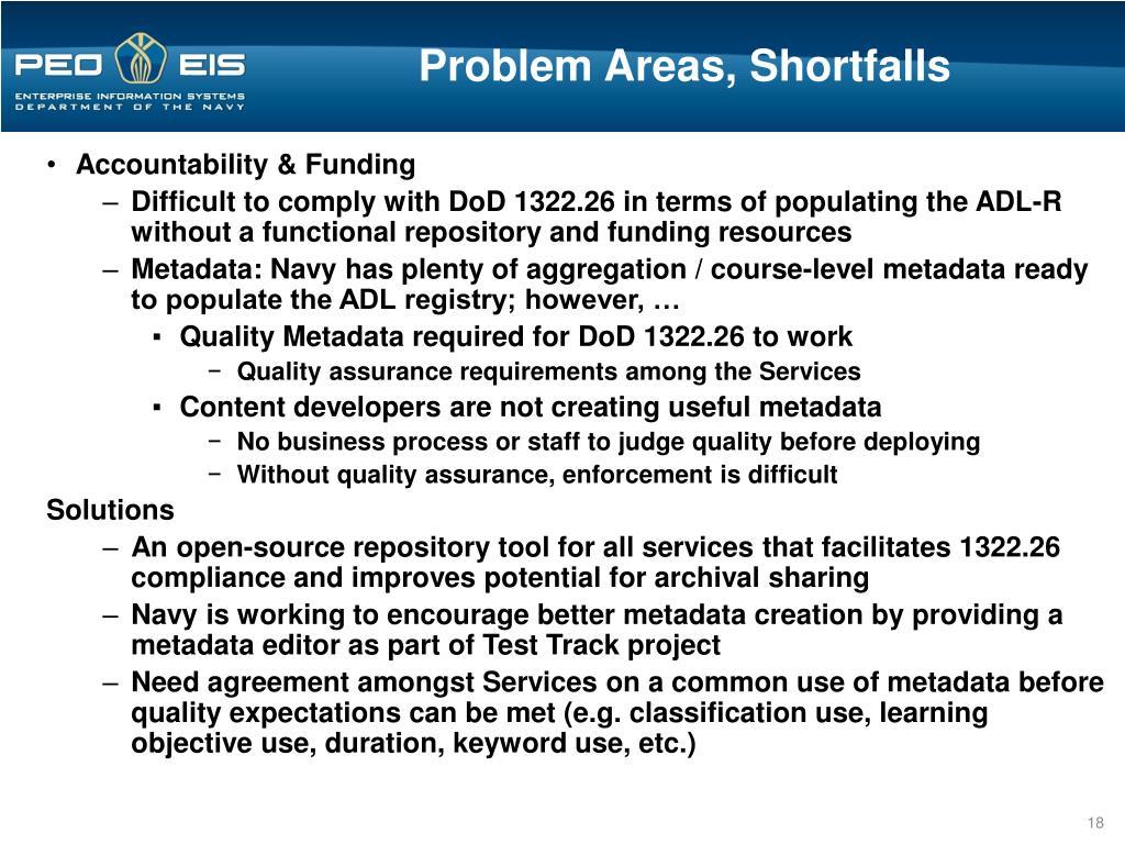 Problem Areas, Shortfalls