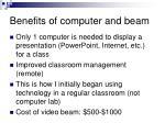 benefits of computer and beam
